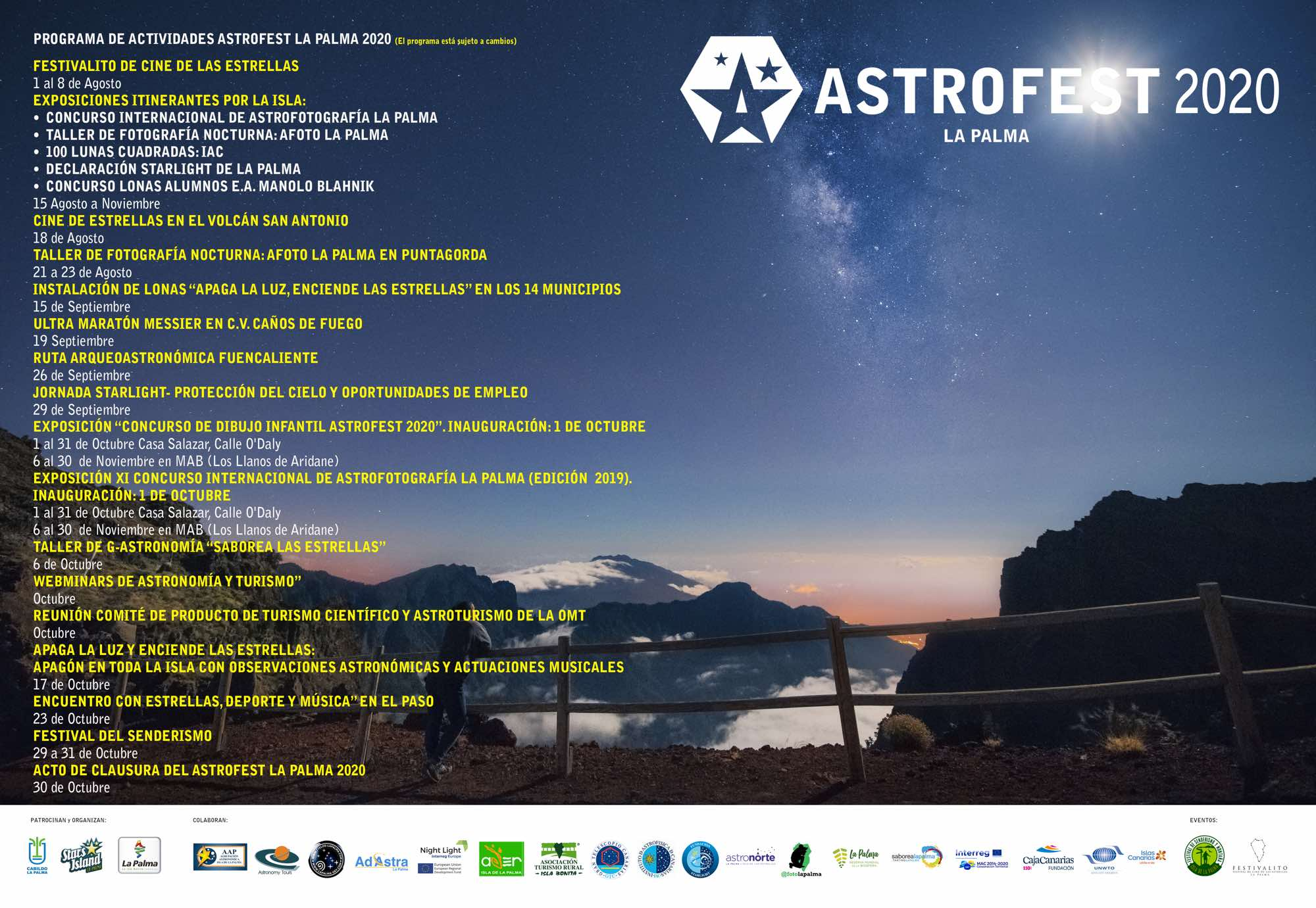 Astrofest 2020 Isla La Palma Programa Cartel